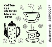 tea  coffee doodles | Shutterstock .eps vector #565900297