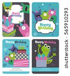 monster party card design.... | Shutterstock .eps vector #565910293