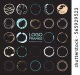 set of hand drawn round frames... | Shutterstock .eps vector #565929523