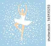 beautiful ballerina in a white... | Shutterstock .eps vector #565935253