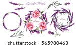 peony and lavender wreaths.... | Shutterstock . vector #565980463
