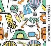 doodle style  summer marine... | Shutterstock .eps vector #565995883