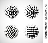 set of vector halftone spheres. ... | Shutterstock .eps vector #566025073