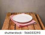 background with empty plate on... | Shutterstock . vector #566033293