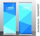 blue roll up business brochure... | Shutterstock .eps vector #566044057