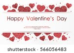 Poster with hearts of red confetti, sparkles, glitter and lettering Happy Valentines Day on white background. Wallpaper for Valentines Day. Vector illustration. | Shutterstock vector #566056483