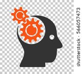 orange and gray brain gears... | Shutterstock .eps vector #566057473