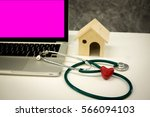 stethoscope with medical red... | Shutterstock . vector #566094103