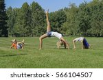 healthy family practicing yoga... | Shutterstock . vector #566104507