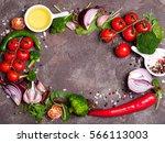 fresh organic vegetables  herbs ... | Shutterstock . vector #566113003
