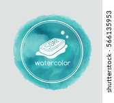 blue watercolor tag background... | Shutterstock .eps vector #566135953