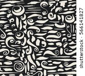 seamless pattern with ink brush ... | Shutterstock .eps vector #566141827