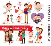 set of valentine's day  lovers  ... | Shutterstock .eps vector #566142313