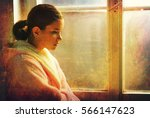 beautiful ill sad girl in night ... | Shutterstock . vector #566147623
