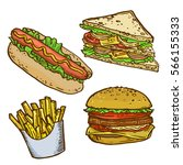 fast food isolated hand drawn... | Shutterstock .eps vector #566155333
