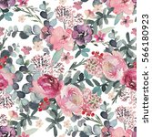 seamless watercolor floral... | Shutterstock . vector #566180923