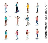 trendy isometric people and... | Shutterstock .eps vector #566180977