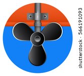 beautiful black boat propeller... | Shutterstock .eps vector #566191093