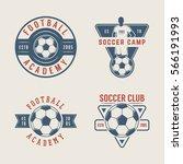set of vintage soccer or... | Shutterstock . vector #566191993