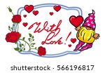 oval label with roses  cute... | Shutterstock . vector #566196817