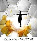 sport illustration with runner... | Shutterstock .eps vector #566217607
