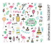 flamingo party objects set   Shutterstock .eps vector #566228197