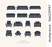 set of silhouettes of sofas on... | Shutterstock .eps vector #566229997