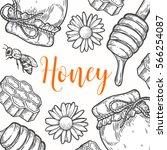 organic honey food vector hand... | Shutterstock .eps vector #566254087