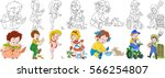 cartoon people set. farm... | Shutterstock .eps vector #566254807
