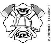 firefighter badge illustration | Shutterstock .eps vector #566255047