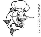 catfish chef illustration | Shutterstock .eps vector #566288563