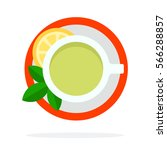 green tea with mint and lemon... | Shutterstock .eps vector #566288857