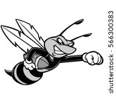 bee football mascot illustration | Shutterstock .eps vector #566300383