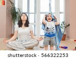 portrait of young tired yoga... | Shutterstock . vector #566322253