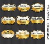 luxury premium golden labels...   Shutterstock .eps vector #566327413