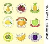 vector fruits badges. | Shutterstock .eps vector #566355703