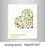 book heart vegetables fruits ... | Shutterstock .eps vector #566357947