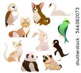 cute cartoon style 3d animals... | Shutterstock .eps vector #566382073