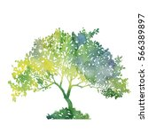 Silhouette Of Green Tree With...