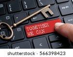closed up finger on keyboard... | Shutterstock . vector #566398423