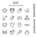set of baby icons in modern... | Shutterstock .eps vector #566410693
