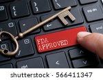 closed up finger on keyboard... | Shutterstock . vector #566411347