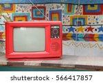 red retro tv in front of... | Shutterstock . vector #566417857