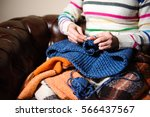 close up of hands knitting | Shutterstock . vector #566437567