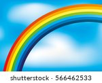 rainbow in the blue sky. | Shutterstock .eps vector #566462533