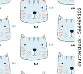hand drawn cat pattern  for... | Shutterstock .eps vector #566469103