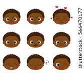 cute cartoon african boy with... | Shutterstock .eps vector #566470177