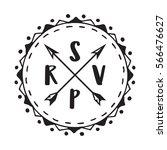 rsvp wedding badge label design ... | Shutterstock .eps vector #566476627