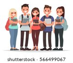 people and education. group of... | Shutterstock .eps vector #566499067