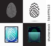 mobile fingerprint sensor | Shutterstock .eps vector #566499613